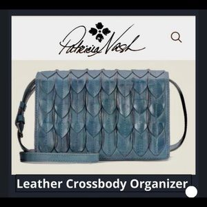 Patricia Nash teal leather crossbody organizer